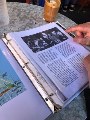 P. shows me photographs of famous writers at the Trieste