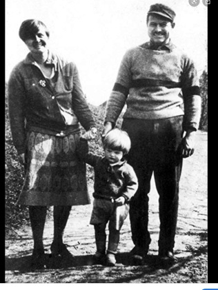 Hadley, Hemingway's first wife, his son Bumby, and Hemingway in Paris.